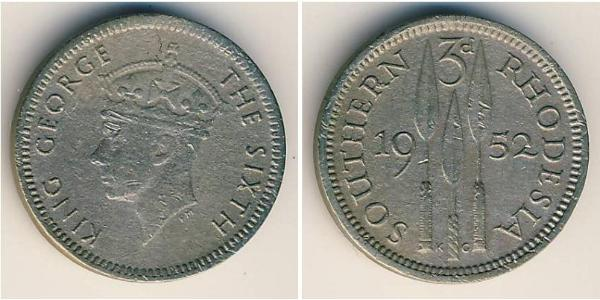 3 Penny Southern Rhodesia (1923-1980) Copper/Nickel George VI (1895-1952)