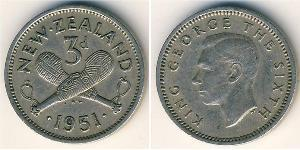 3 Penny Neuseeland Kupfer/Nickel Georg VI (1895-1952)