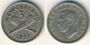 3 Penny Nueva Zelanda Níquel/Cobre Jorge VI (1895-1952)