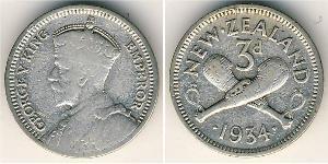 3 Penny Nueva Zelanda Plata Jorge V (1865-1936)
