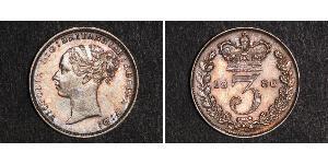 3 Penny Reino Unido de Gran Bretaña e Irlanda (1801-1922) Plata Victoria (1819 - 1901)