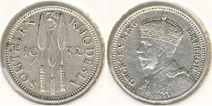 3 Penny Southern Rhodesia (1923-1980) Plata