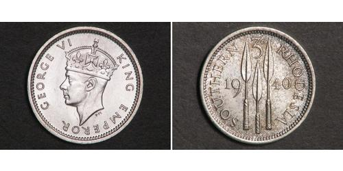 3 Penny Southern Rhodesia (1923-1980) Plata Jorge VI (1895-1952)