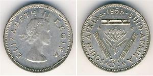 3 Penny Sudáfrica Plata Isabel II (1926-)