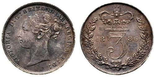 3 Penny Vereinigtes Königreich von Großbritannien und Irland (1801-1922) Silber Victoria (1819 - 1901)