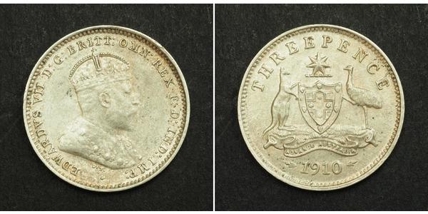 3 Penny Australia (1788 - 1939) Silver Edward VII (1841-1910)