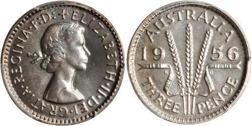 3 Penny Australia (1939 - )  Elizabeth II (1926-)
