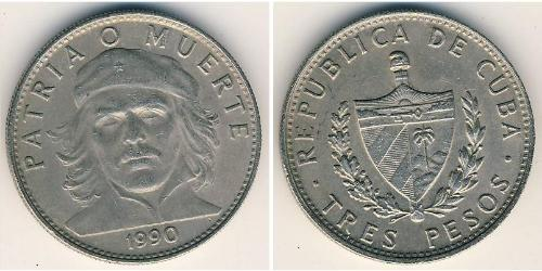 """3 Peso Kuba Kupfer/Nickel Ernesto """"Che"""" Guevara"""