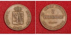3 Pfennig Anhalt-Bernburg (1603 - 1863) Silver Alexander Karl, Duke of Anhalt-Bernburg (1805 – 1863)