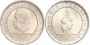 3 Reichsmark Веймарская республика (1918-1933) Серебро Гинденбург, Пауль фон