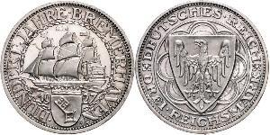 3 Reichsmark Веймарская республика (1918-1933) Серебро