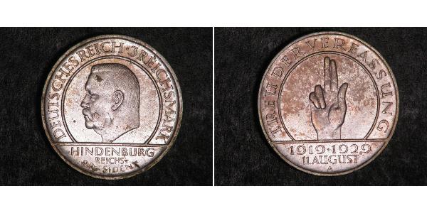 3 Reichsmark Веймарська республіка (1918-1933) Срібло Пауль фон Гінденбург