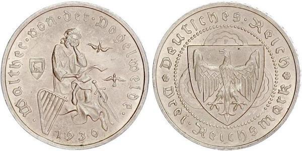 3 Reichsmark 魏瑪共和國 (1919 - 1933) 銀