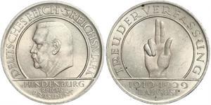 3 Reichsmark République de Weimar (1918-1933) Argent Paul von Hindenburg