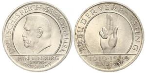 3 Reichsmark Repubblica di Weimar (1918-1933) Argento Paul von Hindenburg