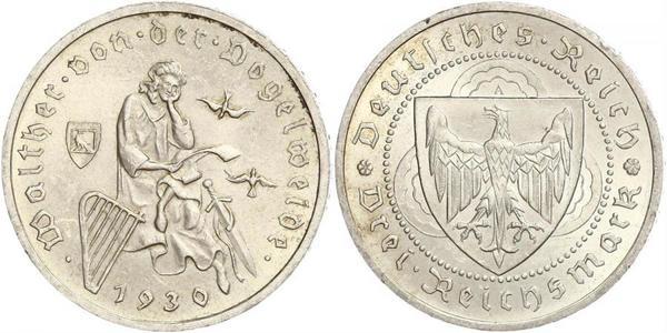 3 Reichsmark Repubblica di Weimar (1918-1933) Argento