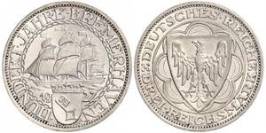 3 Reichsmark República de Weimar (1918-1933) Plata