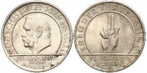 3 Reichsmark República de Weimar (1918-1933) Plata Paul von Hindenburg