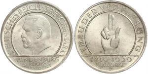3 Reichsmark Weimarer Republik (1918-1933) Silber Paul von Hindenburg