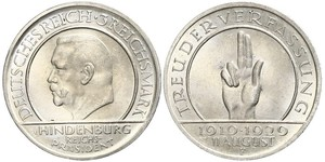 3 Reichsmark Weimar Republic (1918-1933) Silver Paul von Hindenburg