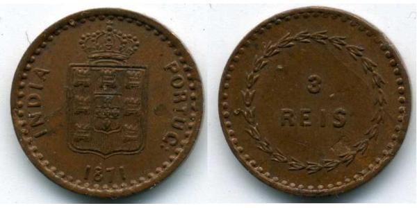 3 Reis Portugiesisch-Indien (1510-1961) Kupfer