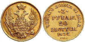 3 Rubel / 20 Zloty Russisches Reich (1720-1917) Gold Nikolaus I (1796-1855)
