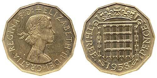 3 Threepence United Kingdom (1922-) Brass/Nickel Elizabeth II (1926-)