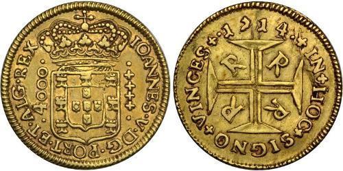 4000 Рейс Бразилия Золото Жуан V король Португалии (1689-1750)