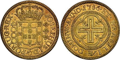 4000 Reis Brasilien Gold Joseph I of Portugal (1714-1777)