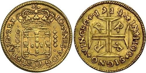4000 Reis Brazil Gold John V of Portugal (1689-1750)