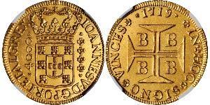 4000 Reis Brasil Oro Juan V de Portugal (1689-1750)