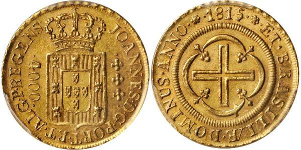 4000 Reis Brasil Oro Juan VI de Portugal (1767-1826)