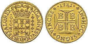 4000 Reis Brasile Oro Giovanni V del Portogallo (1689-1750)