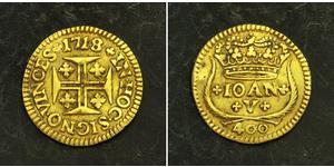 400 Рейс Королевство Португалия (1139-1910) Золото Жуан V король Португалии (1689-1750)