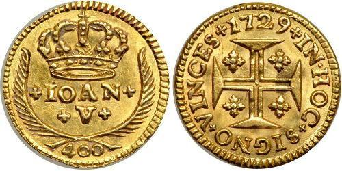 400 Reis Kingdom of Portugal (1139-1910) Gold Johann V. von Portugal (1689-1750)