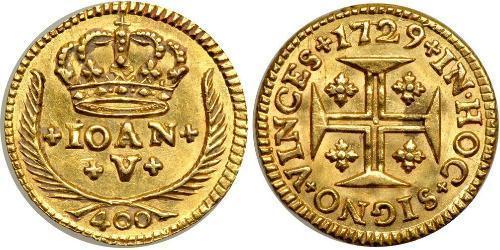 400 Reis Royaume de Portugal (1139-1910) Or Jean V de Portugal (1689-1750)