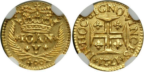 400 Reis Regno del Portogallo (1139-1910) Oro Giovanni V del Portogallo (1689-1750)