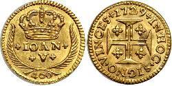 400 Reis Reino de Portugal (1139-1910) Oro Juan V de Portugal (1689-1750)