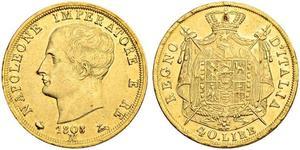 40 Ліра Королівство Італія (Наполеонівське) (1805–1814) Золото Наполеон I Бонапарт(1769 - 1821)
