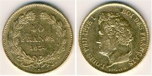 40 Франк Июльская монархия (1830-1848) Золото Луи-Филипп I (1773 -1850)