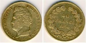 40 Франк July Monarchy (1830-1848) Золото Луі-Філіп I (1773 -1850)