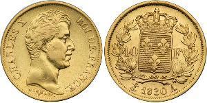 40 Франк Kingdom of France (1815-1830) Золото Карл X король Франції (1757-1836)