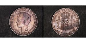 40 Centavo Porto Rico Argent Alfonso XIII of Spain (1886 - 1941)