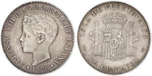 40 Centavo Porto Rico Argent Alfonso XIII of Spain (1886 - 1941)