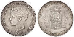 40 Centavo Puerto Rico Plata Alfonso XIII of Spain (1886 - 1941)