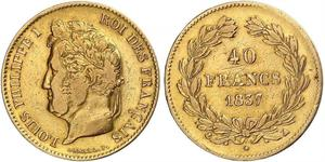 40 Franc 七月王朝 (1830 - 1848) 金 路易-菲利普一世 (1773 -1850)