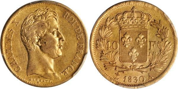 40 Franc 波旁复辟 金 查理十世 (法兰西) (1757-1836)