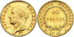 40 Franc Erstes Kaiserreich (1804-1814) Gold Napoleon Bonaparte(1769 - 1821)