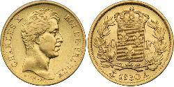 40 Franc Kingdom of France (1815-1830) Gold Charles X of France (1757-1836)