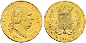 40 Franc Kingdom of France (1815-1830) Gold Louis XVIII of France (1755-1824)
